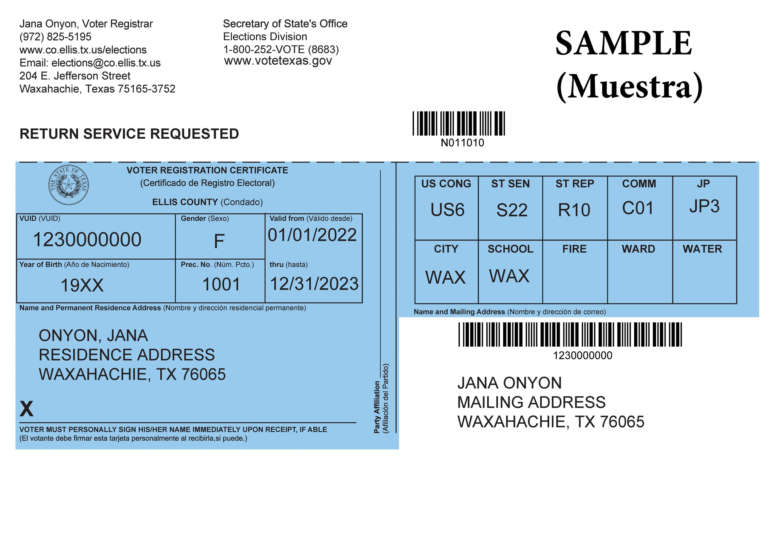 2018 Voter Certificate Example